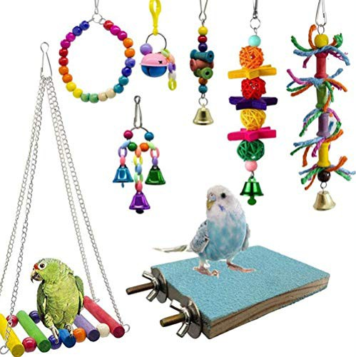 送料無料Kingsie インコ おもちゃ 8点セット 噛む玩具 吊下げタイプ ブランコ ベル 遊び場 ボール バードトイ 止まり木 ストレス解消 知