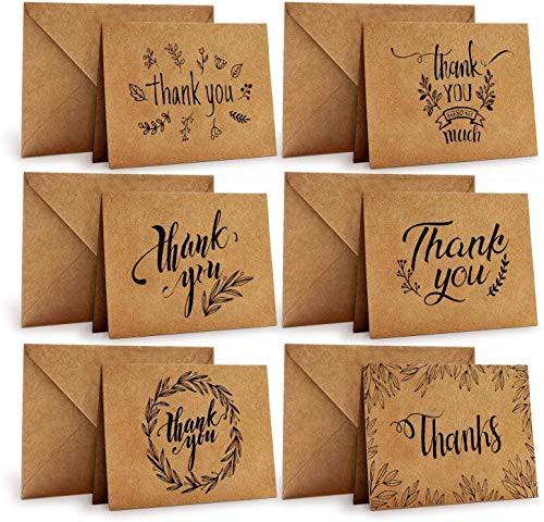 送料無料メッセージカード 感謝カード 36枚 6種類 Ohuhu グリーティングカード 10x15cm カード ギフトステッカー?封筒付き クラフトペー