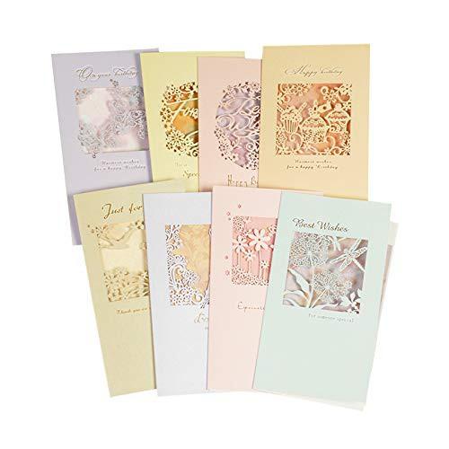 送料無料メッセージカード 8種セット グリーディングカード サンキュー ありがとうカード 誕生日バースデー 記念日 結婚 お祝い 封筒付き