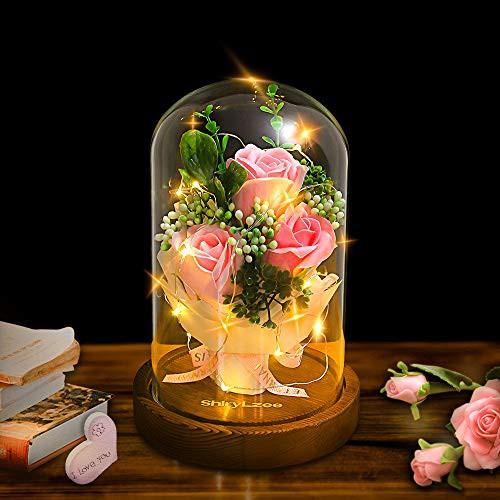 【新品・送料無料】shirylzee 薔薇バラ ライト 母の日 ギフト ソープフラワー花束 石鹸花 女性 誕生日 造花プレゼント 結婚記念日 結婚式