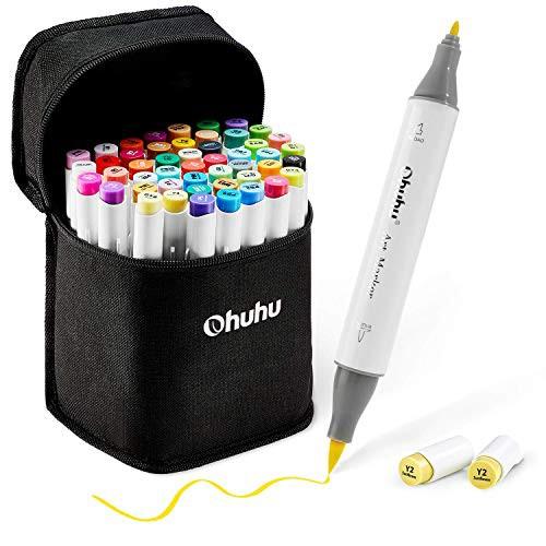 Ohuhu イラストマーカー 筆・細字 48色 ブレンダーペン付き マーカーペン ふでタイプ 両用 鮮やか 手帳 イラスト 色塗り 塗る絵 カード
