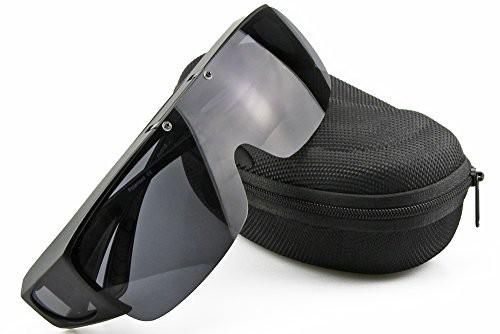 【送料無料】偏光オーバーグラス 偏光サングラス 眼鏡 の上からかけられる 跳ね上げ式 ブラック