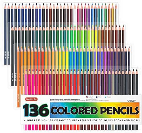 【送料無料】Shuttle Art 色鉛筆 カラーペン 136色セット 大人の塗り絵 スケッチ イラスト 落書き 手帳 ノード子供用 プレゼント 入園・