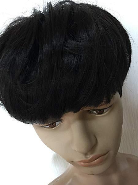 1e4ab36f8ac2ad モテ髪 メンズ ウィッグ マッシュ ヘア ネット付き / ファッション コスプレ 男装 ふわふわ ショートヘア イメチェン (ブラック)  [コスプレ用] ロールショップ