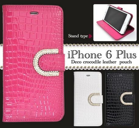 スマートフォンケース メンズ 小物 スマホケース iPhone6 Plus/6s Plus専用 デコクロコダイルレザーポーチケース 3000円以上送料無料