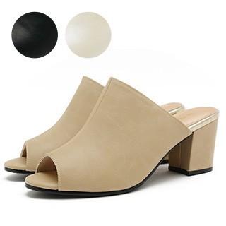 3000円以上送料無料 サボ レディース レディース靴 オープントゥ サボサンダル シンプル チャンキーヒール 7cmヒール 靴 サンダル