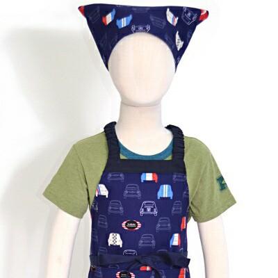 子どもエプロン(100120cm) 夢色ドライブはフレンチカラー(ネイビー) N1233940 子供用エプロン/キッズエプロン/三角巾/調理実習/家庭