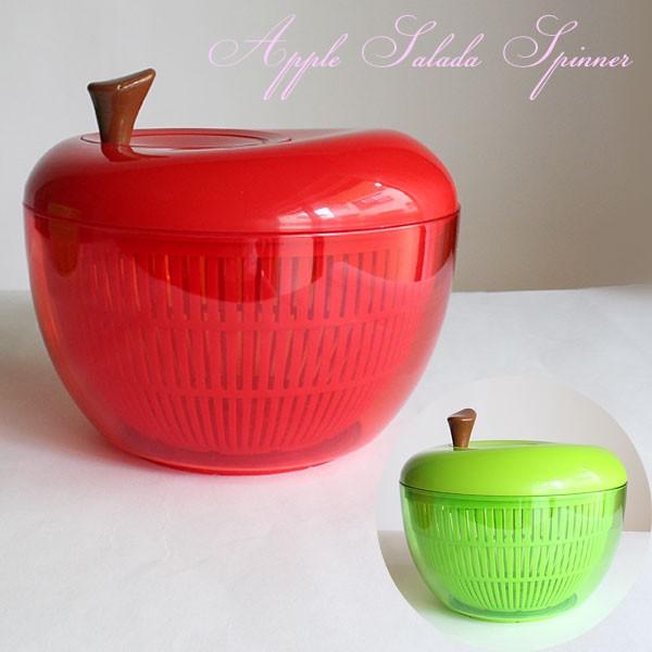 アップルサラダスピナー = 送料432円から (ot) 水切り器 サラダ 野菜 キッチン 時短 Sサイズ GENDAI HYAKKA INC. KR333 =