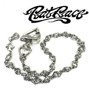 ★送料無料★【RAT RACE(ラットレース)】ツーフェイス/スカル シルバー ウォレットチェーン/シルバー925