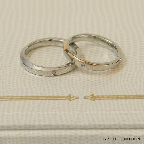 ペアリング ダイヤモンド エレガントライン ペア 刻印無料 レディース メンズ シンプル ステンレス ゴールド シルバー 指輪  アレルギーフリーのサージカルステンレスを