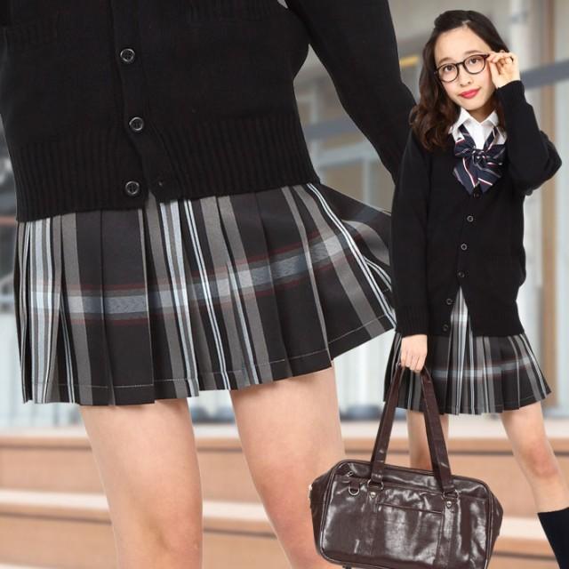 TEENS EVER 16SS 無地 プリーツスカート(ブラック×ホワイト Lサイズ) スクールスカート 制服 高校生 中学生 4560320864592