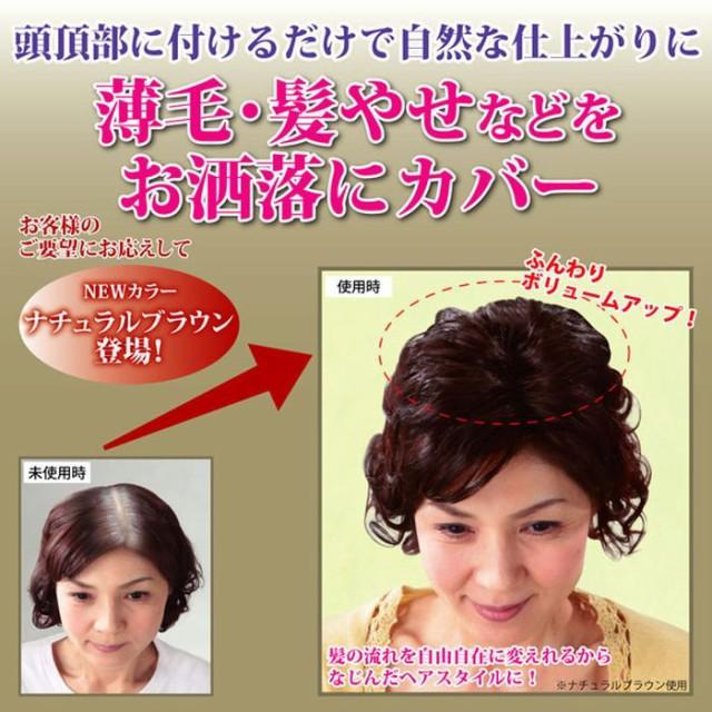 薄毛・髪やせなどをお洒落にカバー 手のひらサイズのボンヘアー ナチュラルブラック 富士パックス h566