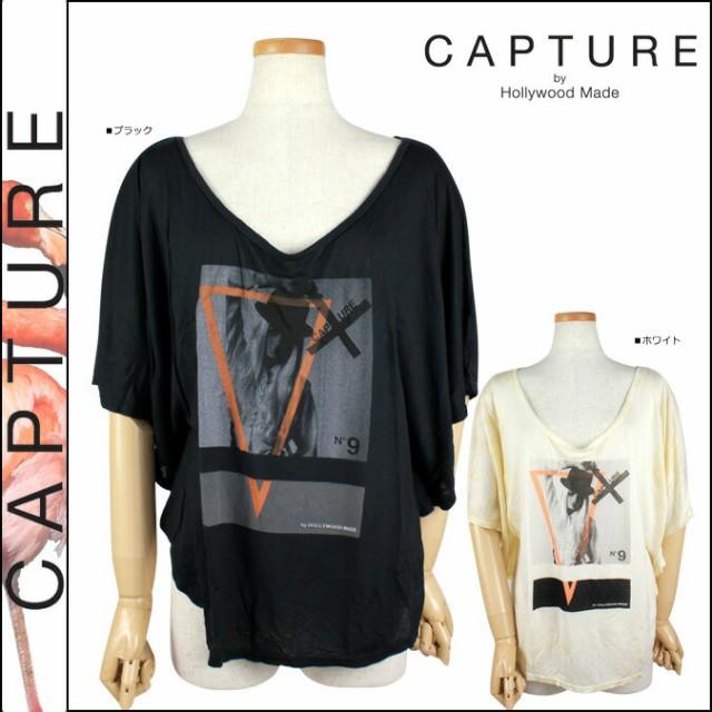 キャプチャー CAPTURE by Hollywood Made ドルマンスリーブ ブラック ホワイト C-SM12-1-06-WM INVERTED MOON コットン レディース