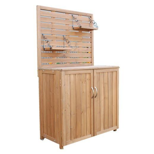 天然木 パネル付き収納庫80 倉庫 屋外 室内 ガーデン コンテナ ベランダ 木製 作業棚 吊り棚(代引不可)【送料無料】