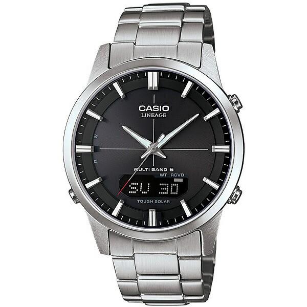 CASIO カシオ LINEAGE メンズ 腕時計 電波 ソーラー マルチバンド6 アナデジ ブラック×シルバー LCW-M170D-1AJF 国内モデル