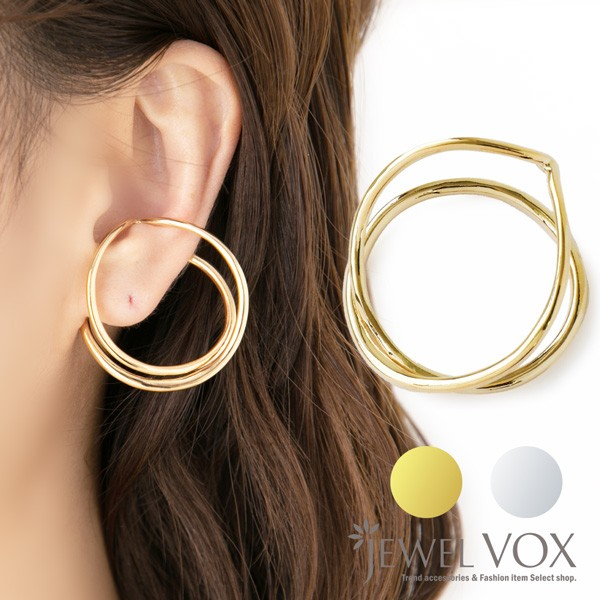 イヤーカフ イヤリング ウェアリング クロス 片耳用 軟骨 耳たぶ 金属アレルギー対応 ゴールド シルバー 金 銀 重ねづけ 重ね付け トレン