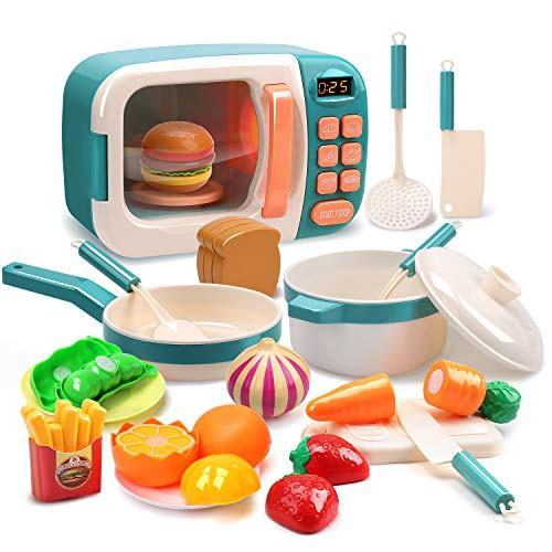 Cute Stone おままごと 電子レンジおもちゃ オープン キッチンセット 室内遊び ごっこ遊び 調理器具セット 親・・・