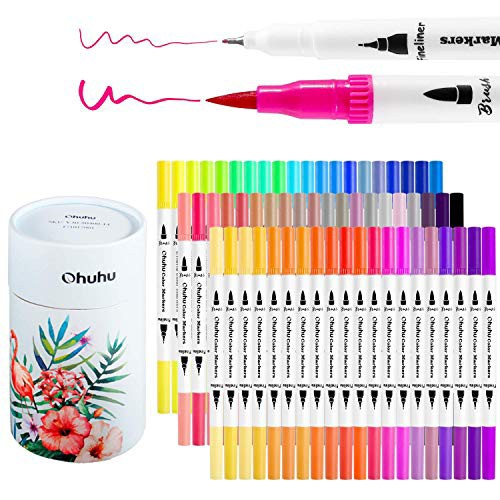 Ohuhu アートマーカーペン 60色 筆先 水彩ペン 水性 ふでタイプ ふで・極細 ブラッシュ 鮮やか イラスト 手帳・・・