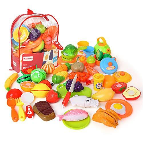 Beebeerun おままごとセット 野菜 果物 キッチン お料理しましょう リアル 切れる 親子遊び おもちゃ 収納バ・・・