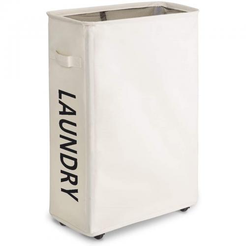 Chrislley ランドリーバスケット ランドリーボックス スリムタイプ 洗濯かご メッシュ キャスタ付き 防水 コー・・・