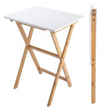 E-WIN 竹製折り畳みテーブル 軽量 パソコンテーブル ベッドテーブル サイドテーブル デスク 組立不要 小型 白 北・・・