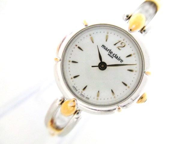 マリクレール marie claire 腕時計 美品 - RP0C-P2 レディース シェル文字盤 白【中古】