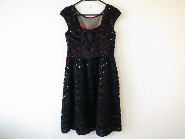 コーガマリコ MARIKO KOHGA ドレス サイズ38 M レディース 美品 黒 リボン/スパンコール【中古】