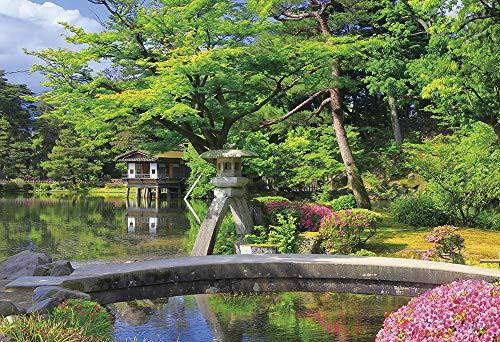 つつじ咲く新緑の兼六園 石川 ジグソーパズル 風景 300ピース 26x38cm