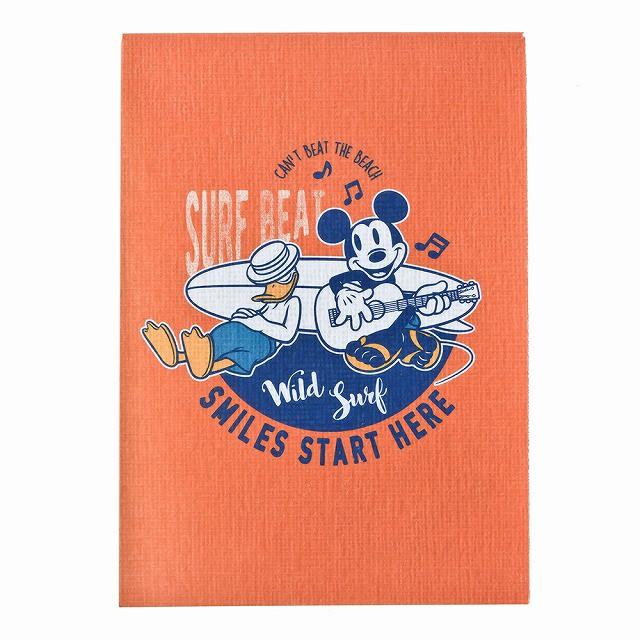 ディズニー サーフスタイル ミッキーマウス B7メモ オレンジ A1317