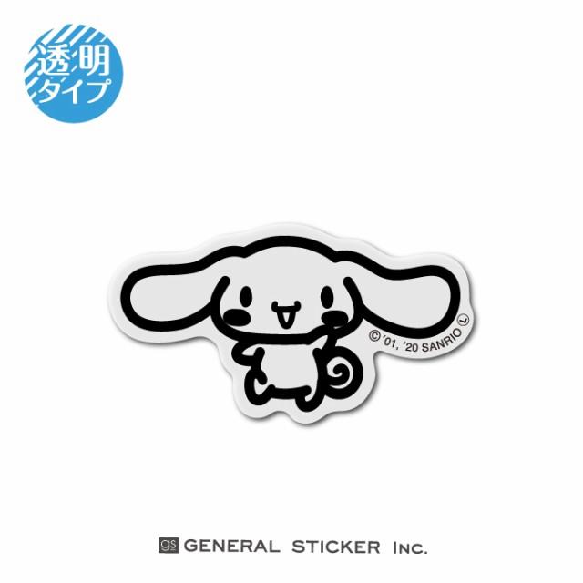 シナモロール 線画 透明 キャラクターステッカー サンリオ フェイスシールド LCS1142 gs ステッカー 公式グッズ