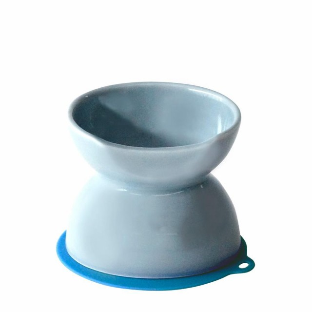 ハリオ チビプレ ダブル ブルーグレイ HARIO 犬 食器 餌入れ フードボウル 犬用 えさ入れ 陶器 食べやすい 高さがある おしゃれ 日本製