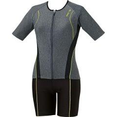 大きめカラースナップ付き袖付きセパレーツ(差し込みフィットパッド) [サイズ:O] [カラーモクK×ブラック×ブラック] #LAR-6242W-MKBK