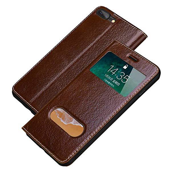 4237c82853 iPhone8 Plus / iPhone7 Plus pu 革ケース 手帳型 窓付き スタンド機能 ソフトTPU