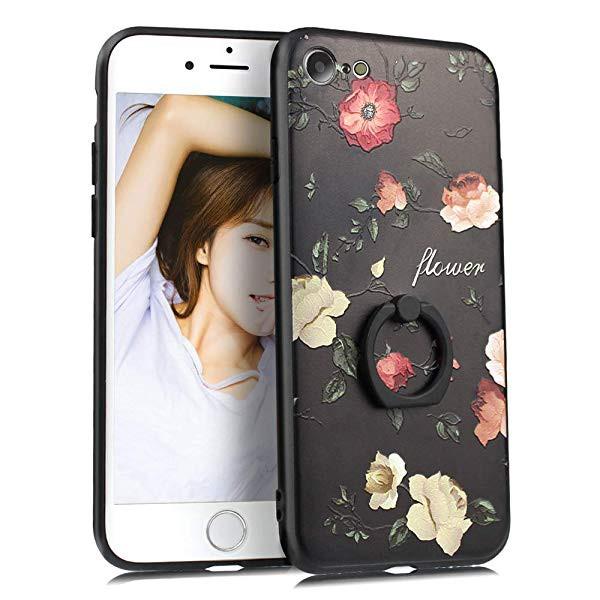 d2fb3a29af iPhone SE ケース iPhone5 ケース iPhone5s ケース リング付き スタンド機能 軽量薄型 花柄 バラ