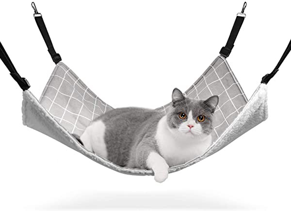 猫 ハンモック ベット ゲージ用 昼寝 夏冬両用 ヒモ調整可能 耐荷重10KG 56x48cm 子猫成猫適用(グレー チェック柄)