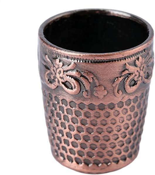 指ぬき 2個入り 赤褐色 フリーシンブル 指プロテクター 裁縫道具 手芸 金属シールド プロテクターピン 滑り止め 赤褐色
