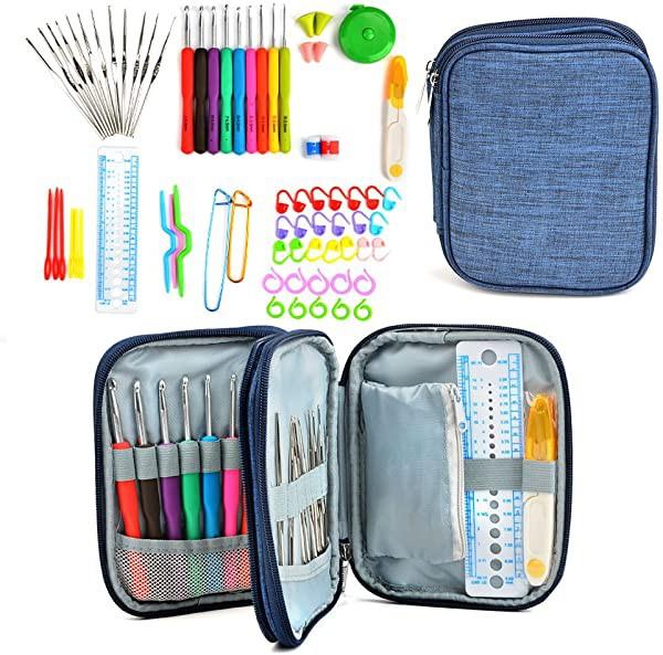 かぎ針セット 72点 かぎ編み 道具 編み針 レース針 DIY手芸 編み物 毛糸 クラフト 色分け 小物 ケース付き コンパクト