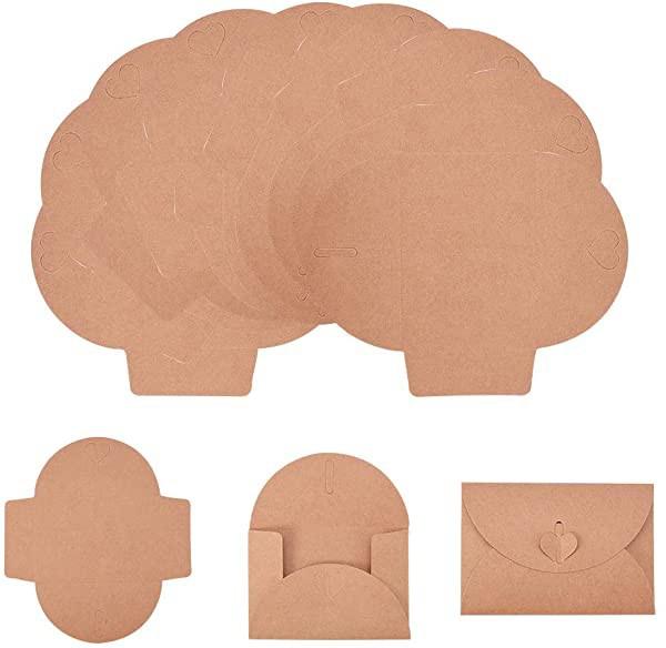 クラフト封筒 約100枚 セット 木の色 100100枚/セット ミニ封筒 ぽち袋 ビジネス封筒 カードケース 無地 ハート型 ボタン設計 結...