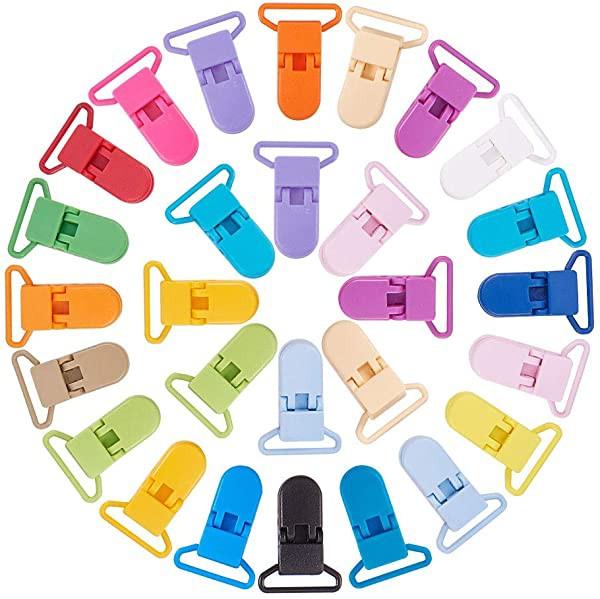 ワンタッチクリップ クリップ T字型 プラスチック おしゃぶり対応 ダミークリップ ダミーストラップ サスペンダーバックル ビブ ...