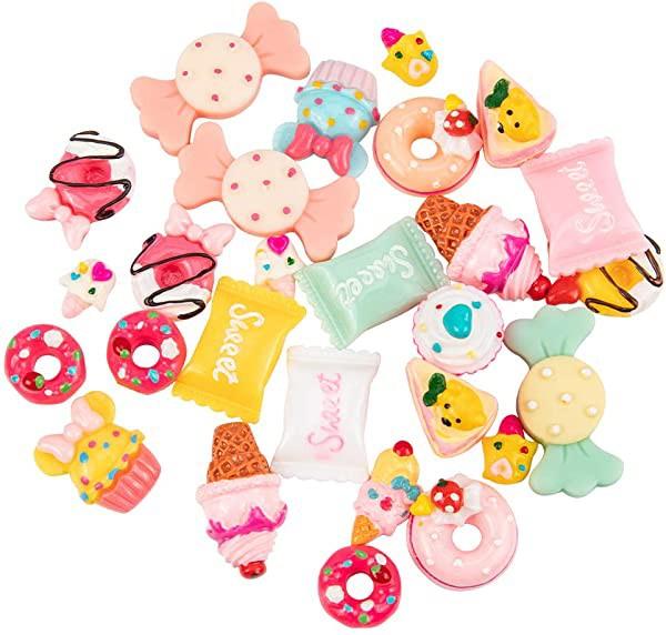 カボション 約48個 12種 樹脂 カボション フラットバック 飾り付 装飾品 アクセサリーパーツ DIY用品 手芸材料 アイスクリーム・...