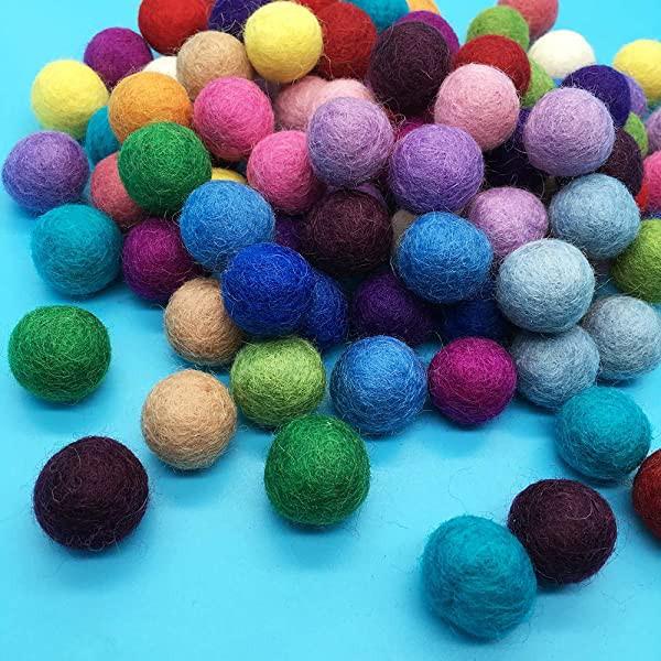 フェルト ウールボール 100個 フェルト カラフル ガーランド 羊毛繊維 径2cm ボール 超軽量 可愛い 20色 パーティー飾り