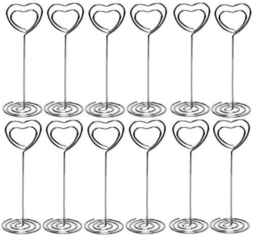 名札ホルダー 24個セット 卓上 装飾 ハート型 名刺 写真スタンド メモ カード クリップ 結婚式 席札 テーブル番号ホルダー カー ...