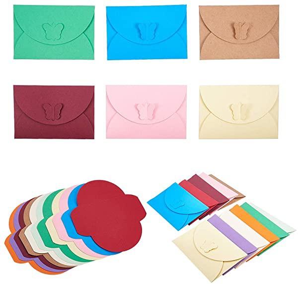 クラフト封筒 約55枚/セット 11色 蝶形 ミニ封筒 ぽち袋 ビジネス封筒 カードケース 無地 ボタン設計 結婚式 誕生日 イベントな ...