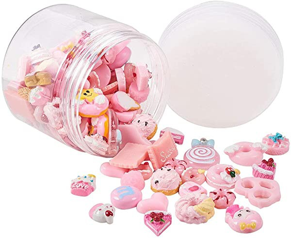 カボション 約100個セット 多種 ピンク 樹脂製 カボション フラットバック 飾り付 装飾品 アクセサリーパーツ DIY用品 手作りキ ...