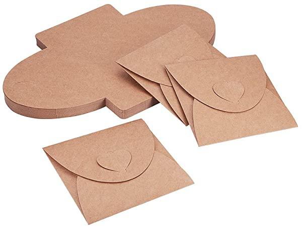 クラフト封筒 約50枚/セット ミニ封筒 ぽち袋 ビジネス封筒 カードケース 無地 ハート型 ボタン設計 結婚式 誕生日 イベントなど...