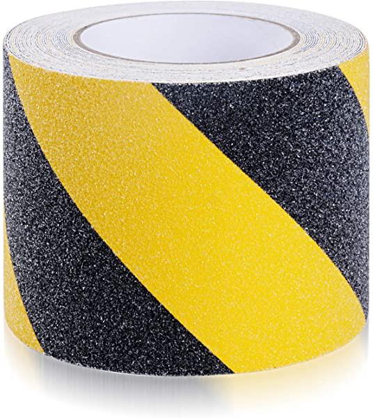 滑り止めテープ 10cm*10m 階段 屋外 屋内兼用 耐水性 鉱物粒子タイプ 10cm*10m 黄色と黒色