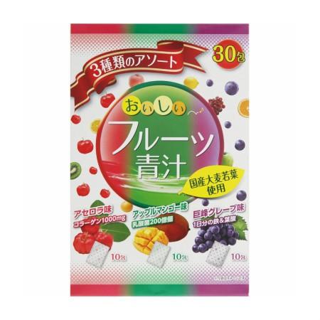 ユーワ フルーツ青汁3種のアソート90g (3g×30包) 【4袋セット】【お取り寄せ】(4960867006156-4)