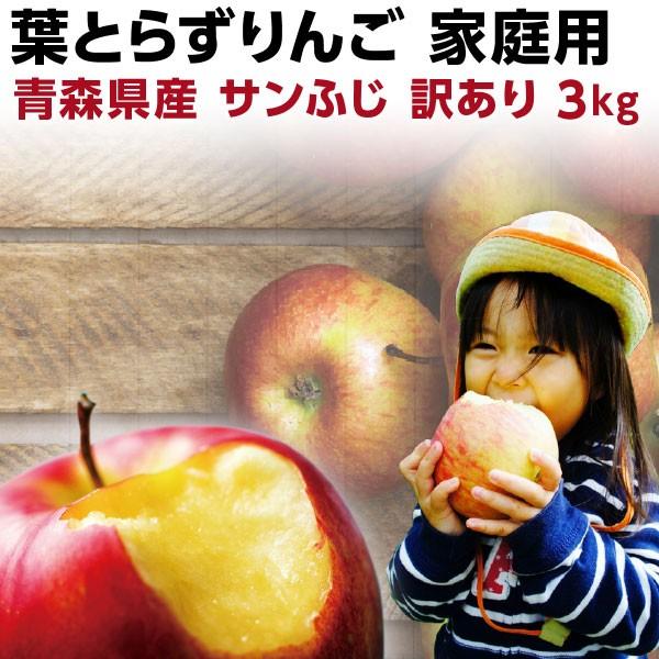 りんご 訳あり 送料無料 青森 葉とらず サンふじ ご家庭用 3kg(8〜14玉) 産直 世界が認めたリンゴ