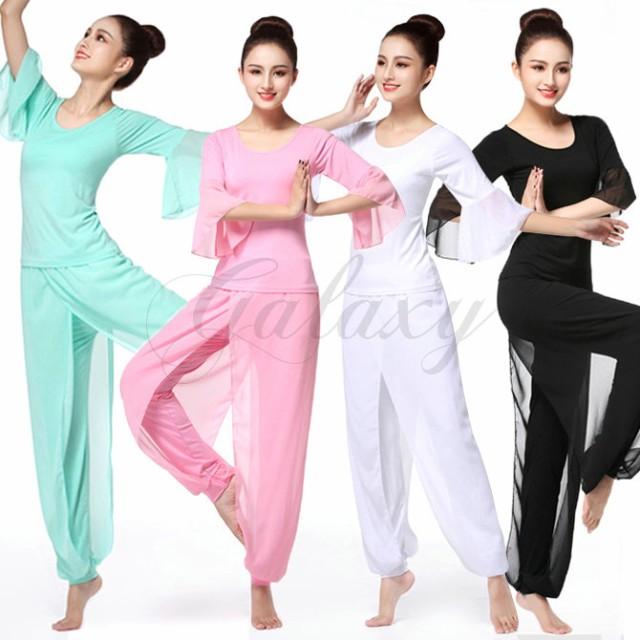 ヨガウエア yoga ピラティス レッスン着 4色 シフォン S-XXXL 練習服 ダンス衣装 cx055