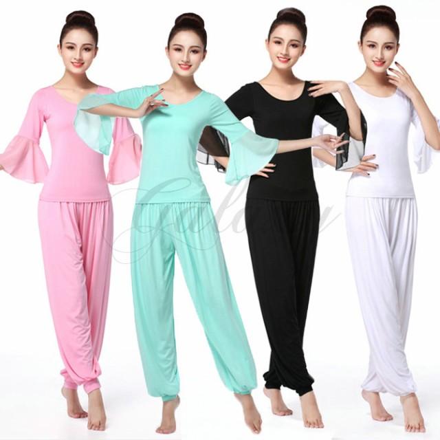 ヨガウエア yoga ピラティス レッスン着 4色 シフォン S-XXXL 練習服 ダンス衣装 cx056